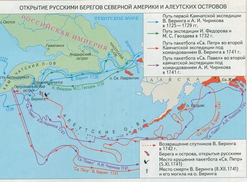 Открытие русскими берегов северной Америке и Алеутских остро
